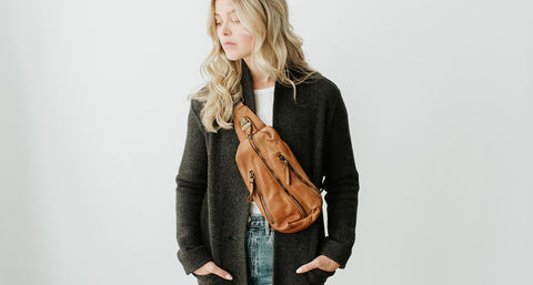 Oscar Sling bag in cognac and handcrafted in buttery soft distressed Italian leather