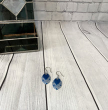 Load image into Gallery viewer, Blue Damask Earrings