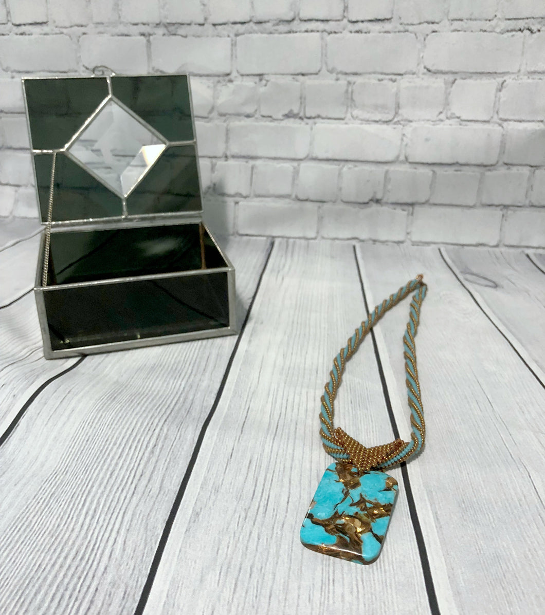 Copper and Turquoise Pendant Necklace