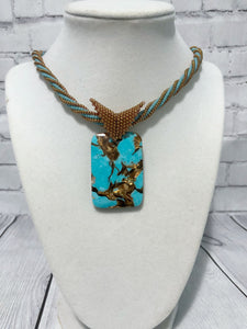 Turquoise and Copper Beaded Necklace