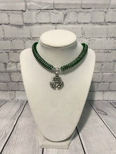 Load image into Gallery viewer, Celtic Crescent Pendant Necklace, Anodized Aluminum Chainmaille, Nickel Free, 18-26 Inches