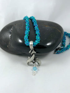Blue Beaded Spiral Rope Necklace