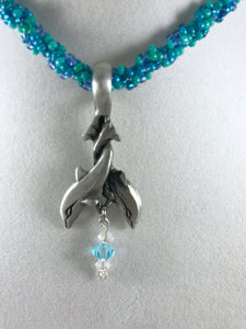 Dolphin Pendant with Crystal Beads