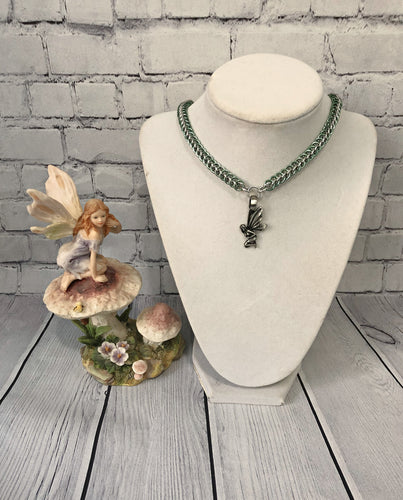 Chainmaille Necklace with Fairy Pendant