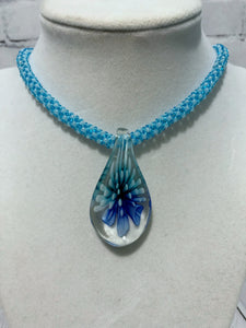 Glass Flower Pendant on Chenille Stitch Beaded Necklace, One of a Kind, 19 Inches