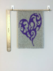 Heart Inlay Wall Hanging, Chainmaille Wall Art, 11x8 Inches