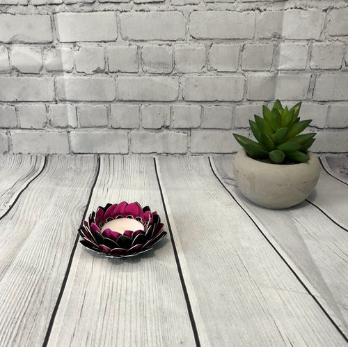 Pink and Black Lotus Flower Candle Holder