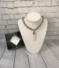 Load image into Gallery viewer, Rose Quartz Pendant on Chainmaille Necklace
