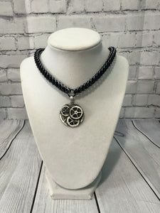 Gear Pendant on Aluminum Chainmaille Necklace