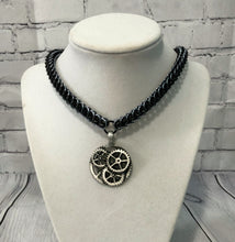 Load image into Gallery viewer, Half Persian Chainmaille Necklace with Steampunk Pendant