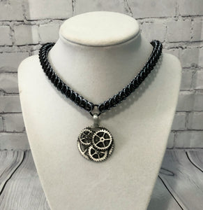 Half Persian Chainmaille Necklace with Steampunk Pendant