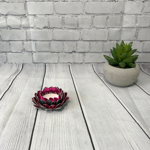Pink and Grey Lotus Flower Candle Holder