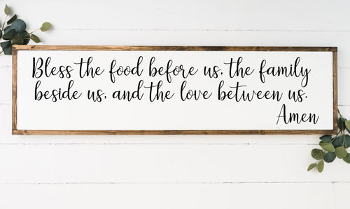 Bless the Food Before Us 12 x 48 Framed Sign