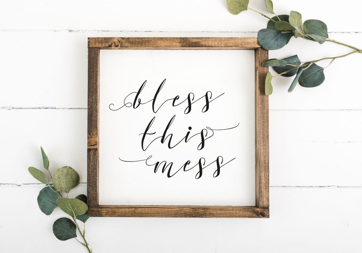 Bless This Mess 12 x 12 Framed Sign (Workshop Only)