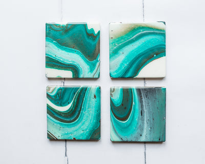 Paint Poured Coasters (4)
