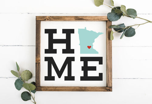 Home State 12 x 12 Framed Sign