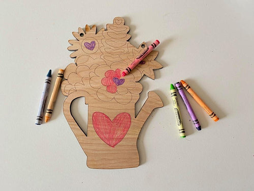 Kids Flower Pot Coloring Cut-out