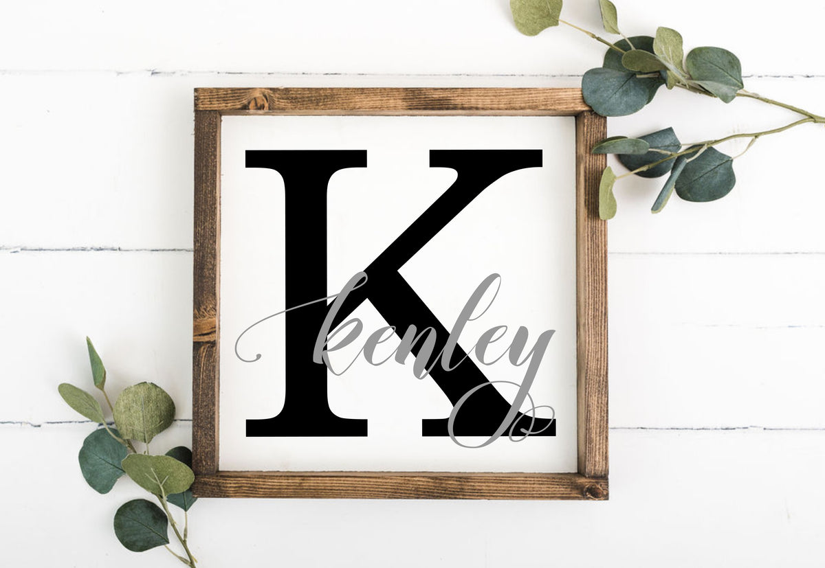 Last Name & Initial 12 x 12 Framed Sign (Workshop Only)