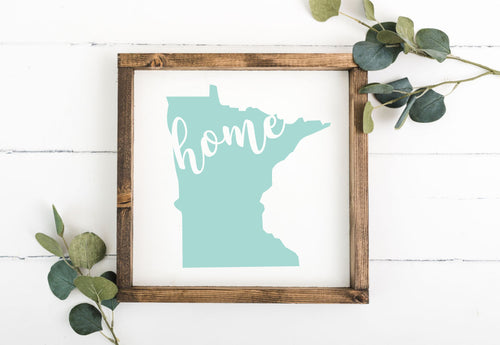 "State Silhouette with ""Home"" 12 x 12 Framed Sign"