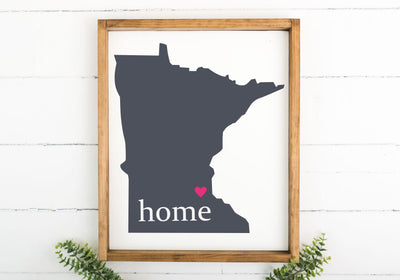 State Silhouette with Heart and Home 16 x 20 Framed Sign