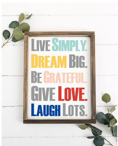 Rules To Live By 12 x 16 Framed Sign