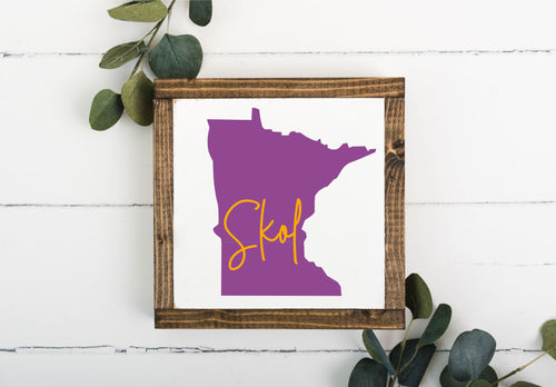 SKOL MN 8 x 8 Framed Sign