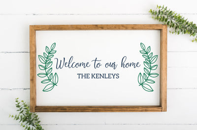 Welcome To Our Home 12 x 20 Framed Sign