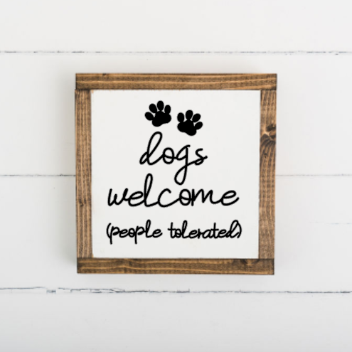 3D Dogs Welcome 8 x 8 Framed Sign