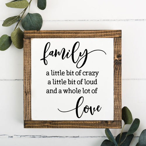 Family 8 x 8 Framed Sign