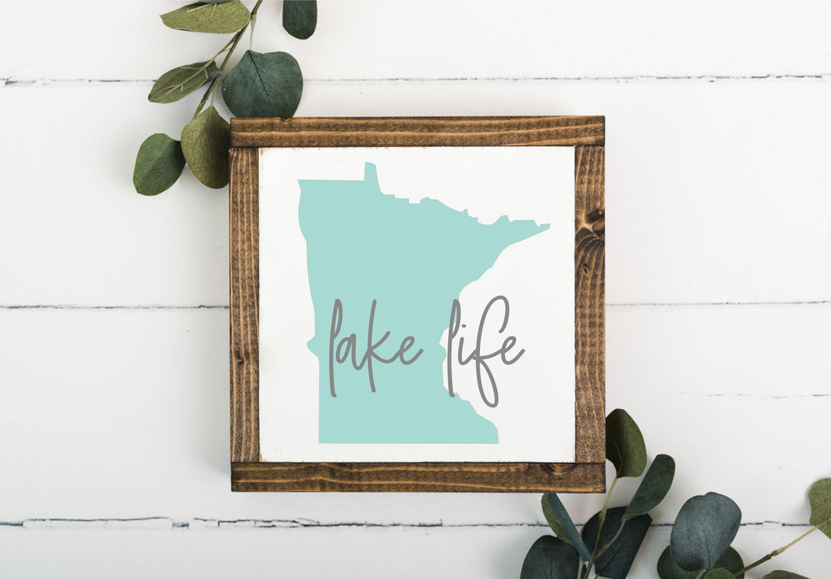 Lake Life MN 8 x 8 Framed Sign