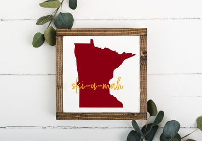 Ski-U-Mah 8 x 8 Framed Sign