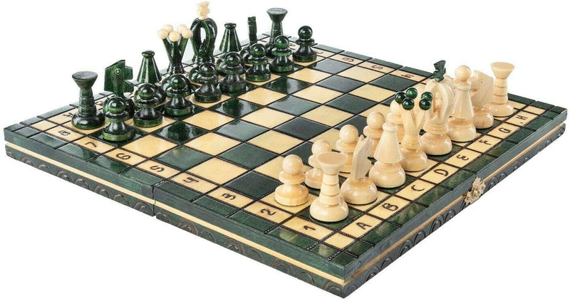 "Medium Wooden Chess Set In Green color, 12.2"" x 12.2"""