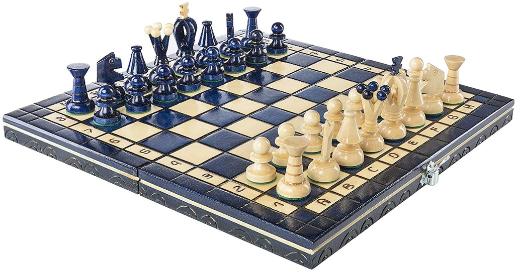 "Medium Wooden Chess Set In Blue color, 12.2"" x 12.2"""