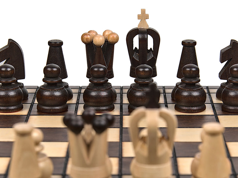 "Medium Wooden Chess Set In Brown color, 12"" x 12"""