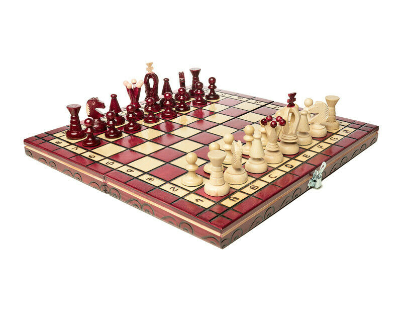 "Medium Wooden Chess Set In Red color, 12.2"" x 12.2"""