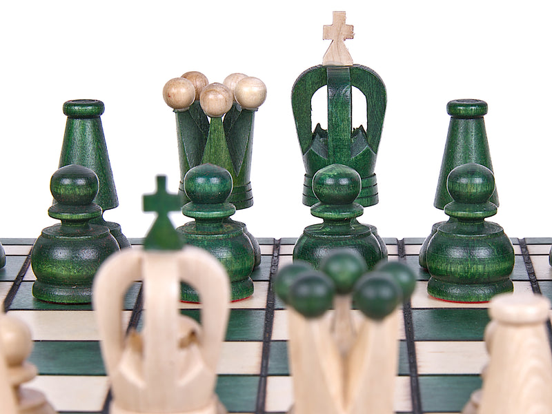 "Medium Wooden Chess Set In Green color, 12"" x 12"""