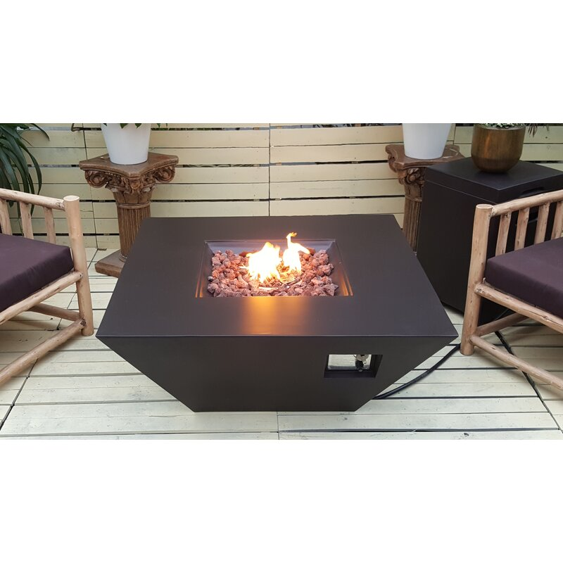 Luxor Concrete Propane Fire Pit Table - Brown