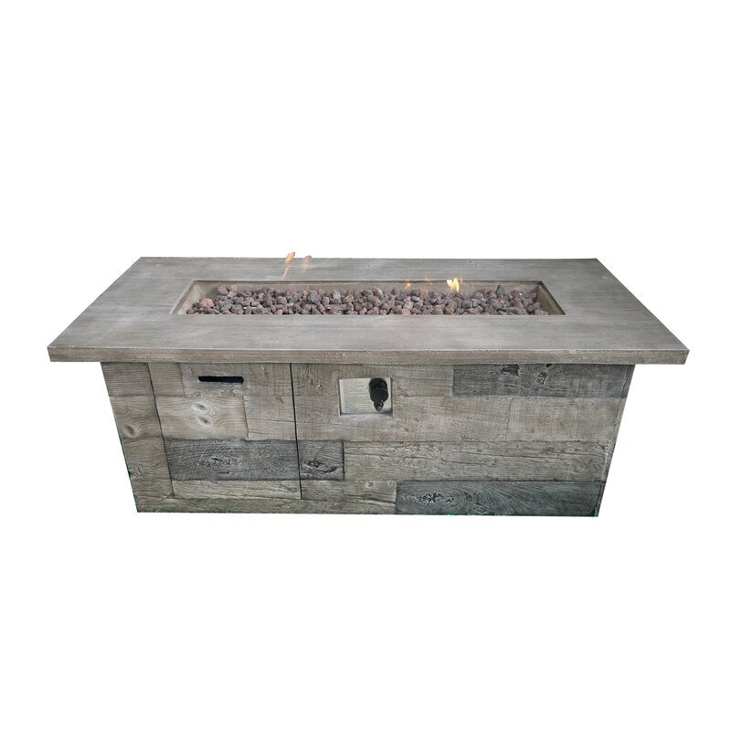 Timber Concrete Propane Gas Fire Pit Table
