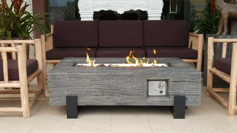 Torch GRC Wood Textured Concrete Propane Fire Pit