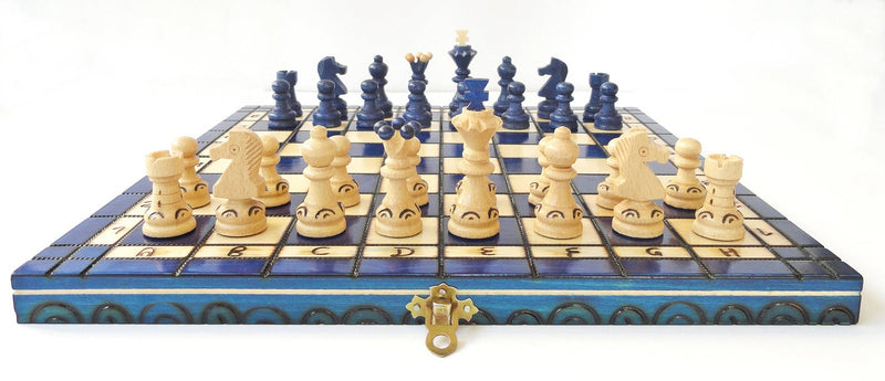 "Handmade Wooden Chess Set, 13,6"" x 13,6"", Blue"