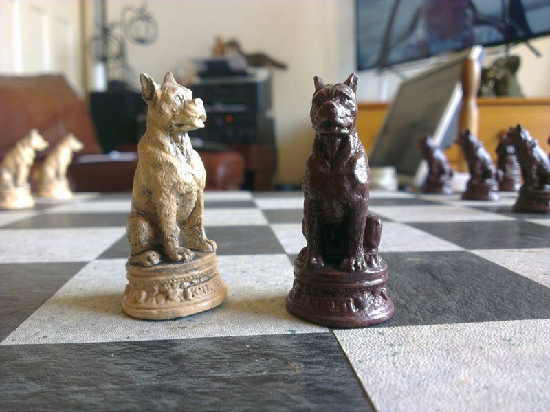 Dogs Chess Set - Handmade Stonecast with two extra Queens and Optional Chess Mat