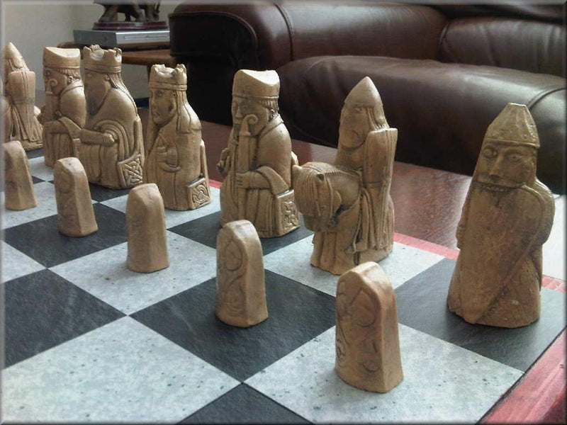 Isle of Lewis Chess Set with rare Toothy Berserker - Antique Red & Aged Sandstone with optional Vinyl Chess Board