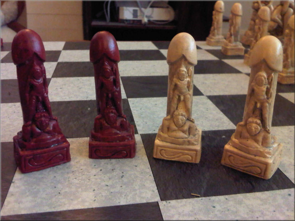 Adult Erotic Sex Themed Kama Sutra Chess Set with Two Extra Queens and optional Chess Board - Mature