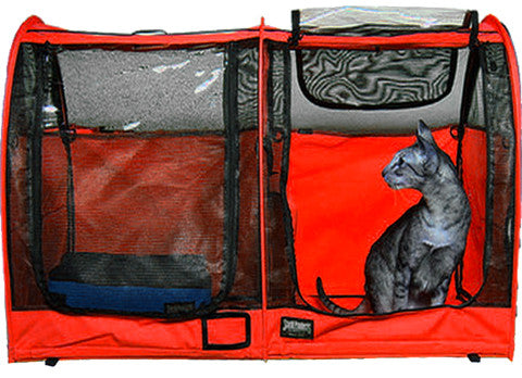 Double Show Shelter with Vinyl Doors - Red - Sturdi Products - 7