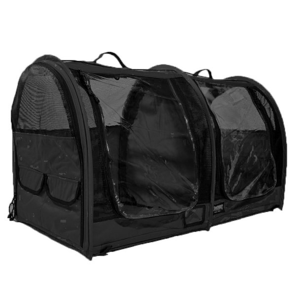 Double Show Shelter with Vinyl Doors - Black - Sturdi Products - 2