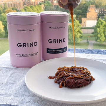 Desserts with Grind: Coffee sauces and Grind cookies.