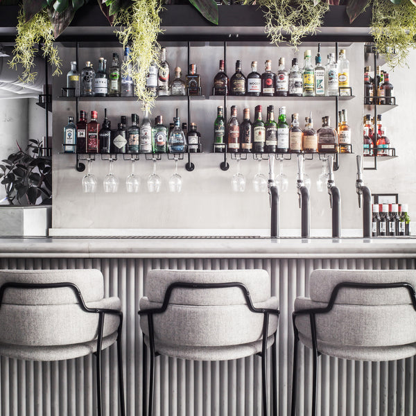 Liverpool Street Grind bar with bar shelves, high chairs and planters