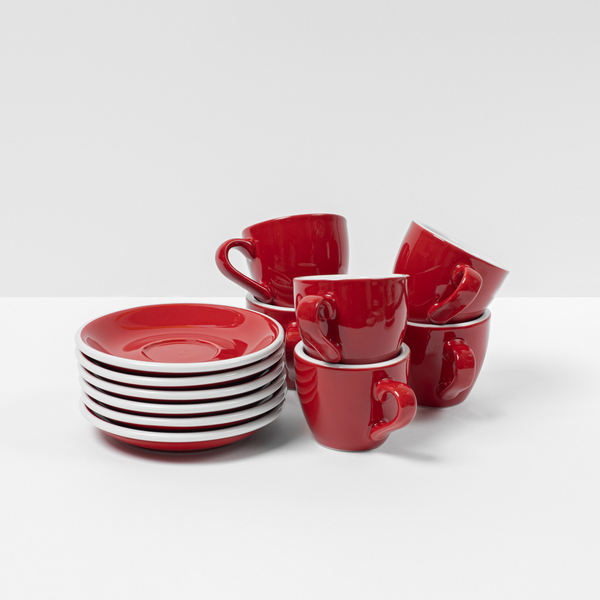 Red Cups & Saucers (Set of 6)