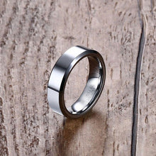 Brushed, Beveled, and Bold Tungsten Ring