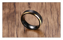 Black and Gold Tungsten Ring
